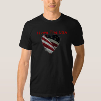 American Flag Heart on Shirt. T-shirts