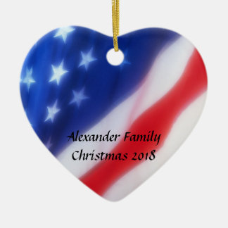 American Flag Heart Personalized Ornament