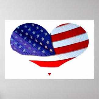 American Flag Heart Poster