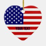 American Flag Heart Shape Christmas Ornament Christmas Tree Ornaments
