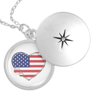 American Flag Heart Silver Plated Necklace