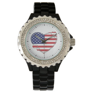 American Flag Heart Watch
