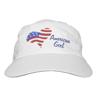 American Flag Heart - Woven Performance Hat, White Hat