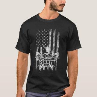 American flag Heavy Equipment Operator Skull T-Shirt
