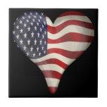 American Flag In A Heart Ceramic Tiles
