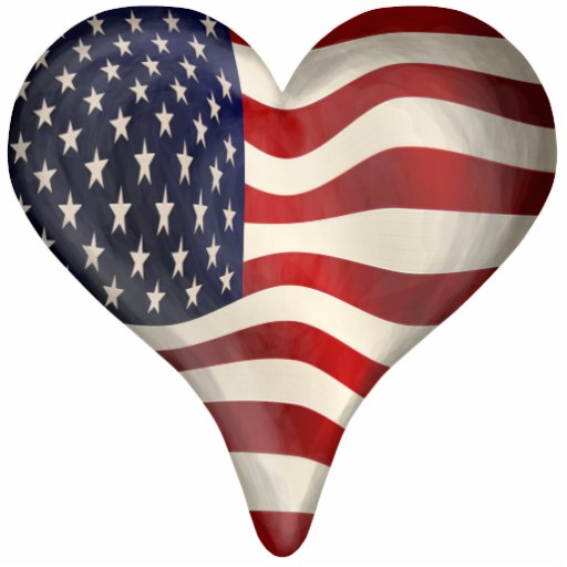 American Flag In A Heart Cut Outs