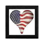 American Flag In A Heart Jewelry Box