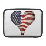 American Flag In A Heart MacBook Air Sleeve