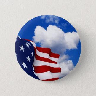 American Flag in blue skies 6 Cm Round Badge