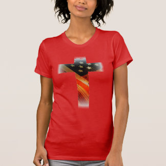 American Flag in cross T-Shirt