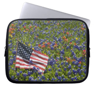 American Flag in field of Blue Bonnets, 2 Laptop Sleeve