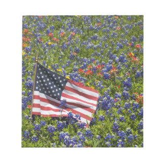 American Flag in field of Blue Bonnets, 2 Notepad
