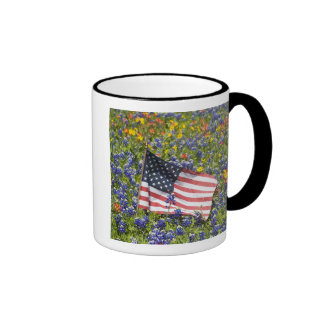 American Flag in field of Blue Bonnets Coffee Mugs