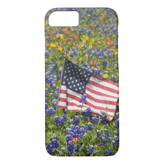 American Flag in field of Blue Bonnets, iPhone 8/7 Case