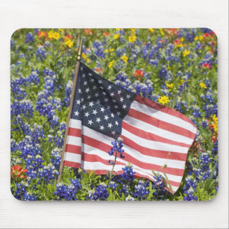 American Flag in field of Blue Bonnets, Mouse Mat