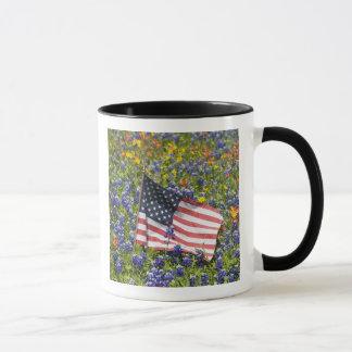 American Flag in field of Blue Bonnets, Mug