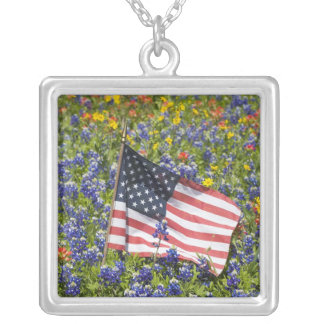 American Flag in field of Blue Bonnets, Silver Plated Necklace