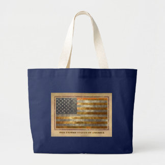 American Flag In Gold Leaf Large Tote Bag