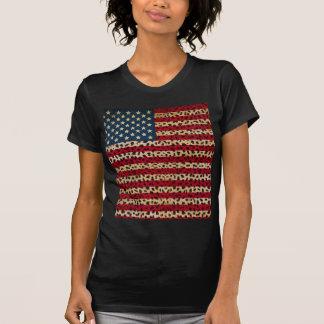 American Flag in Leopard Spot Print Design T-Shirt