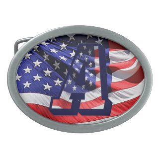 """American Flag in Letter """"A"""" Belt Buckle"""