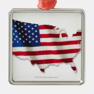 American flag in shape of United States Christmas Ornament
