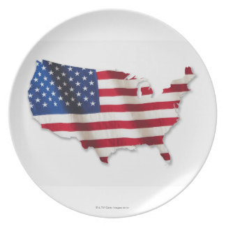 American flag in shape of United States Plate