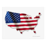 American flag in shape of United States Postcard