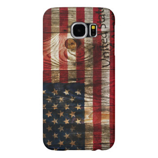 American Flag in wooden bord Samsung Galaxy S6 Cases