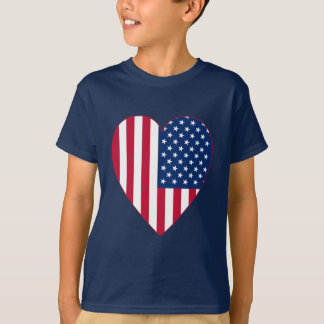 American Flag Inside A Big Heart T-Shirt