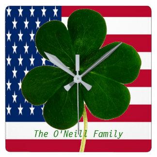 American Flag Irish Shamrock Clover St. Patrick Wall Clock
