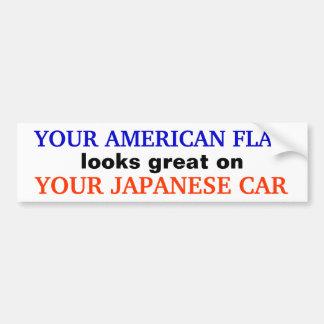 """AMERICAN FLAG / JAPANESE CAR"" Bumpersticker Bumper Sticker"