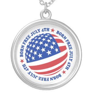 American Flag July 4th Silver Plated Necklace