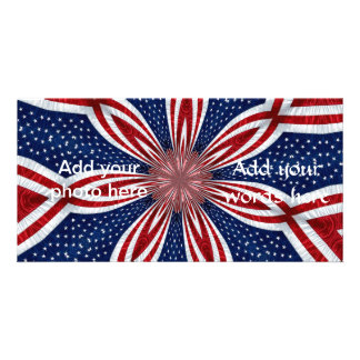 American Flag Kaleidoscope Abstract 1 Photo Card Template