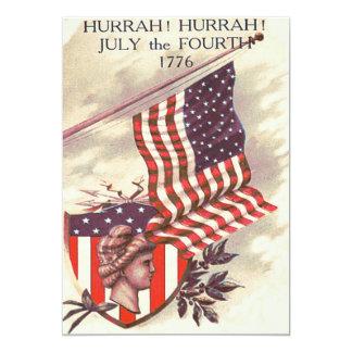 American Flag Lady Liberty Shield 13 Cm X 18 Cm Invitation Card