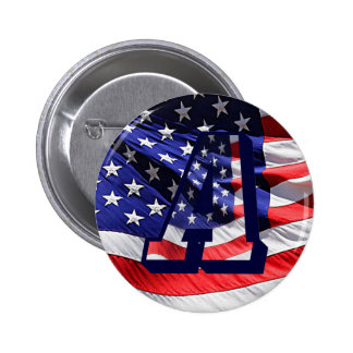 """American Flag Letter """"A"""" Pin-Back Button"""