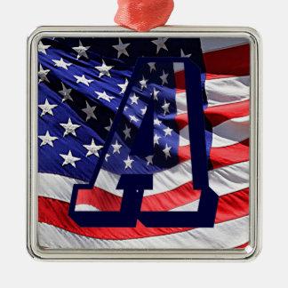 "American Flag & Letter ""A""  Premium Sq Ornament"