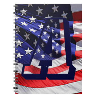 """American Flag & Letter """"A"""" Spiral Notebook"""