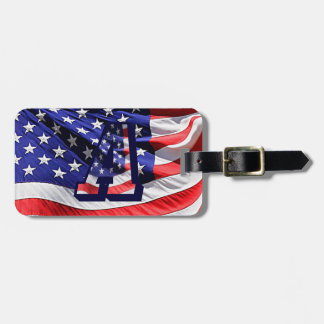"""American Flag & Letter """"A"""" Travel Luggage Tag"""