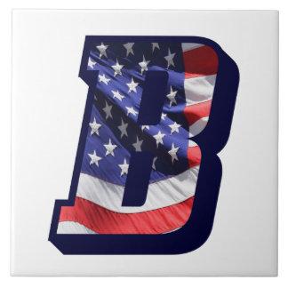 "American Flag Letter ""B"" Large Photo Ceramic Tile"