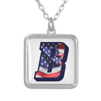"""American Flag Letter """"B"""" Silver Plated Necklace"""