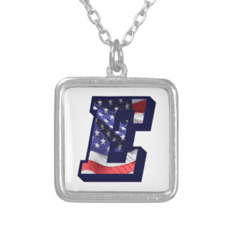 """American Flag Letter """"E"""" Silver Plated Necklace"""