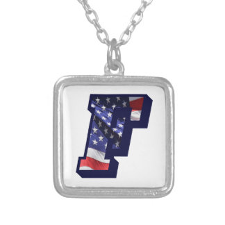 """American Flag Letter """"F"""" Silver Plated Necklace"""