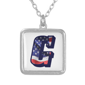 """American Flag Letter """"G"""" Silver Plated Necklace"""