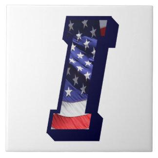 "American Flag Letter ""I"" Large Photo Ceramic Tile"