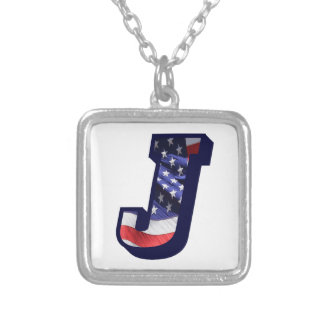 """American Flag Letter J"""" Silver Plated Necklace"""