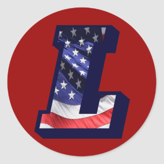 "American Flag Letter ""L"" Classic Round Sticker"