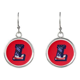 """American Flag Letter """"L"""" Drop Earrings"""