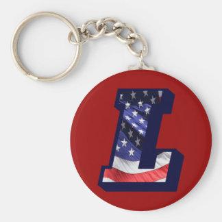"American Flag Letter ""L"" Key Ring"