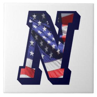 "American Flag Letter ""N"" Large Photo Ceramic Tile"
