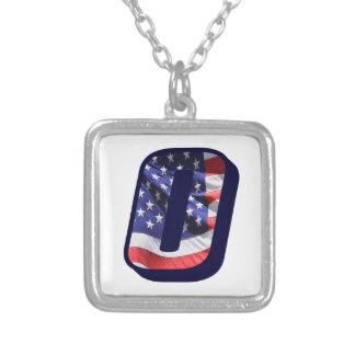 """American Flag Letter O"""" Silver Plated Necklace"""